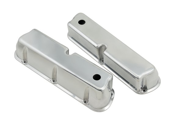 6840G - Polished aluminum tall-style valve covers for 1962-85 260-351W small block Ford engines. Image