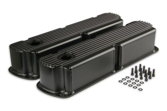 6842BG - Mr. Gasket Finned Fabricated Aluminum Valve Covers - Black Image