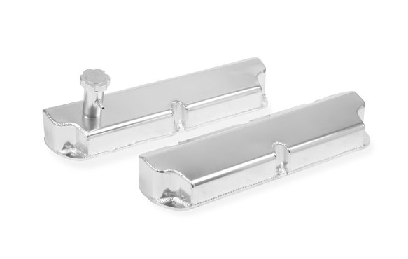 6845G - Fabricated Aluminum Valve Cover - Ford Small Block - Silver Finish Image