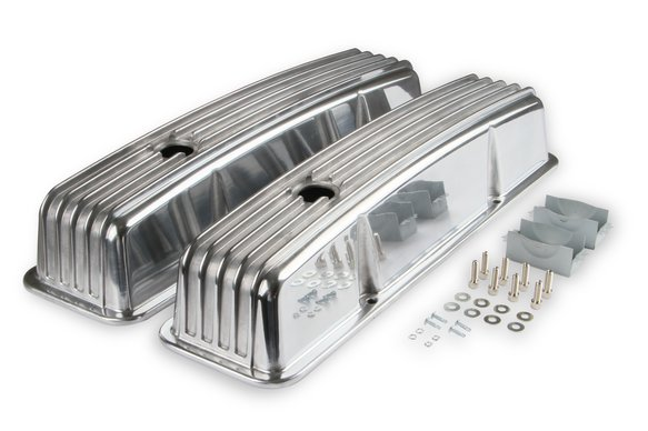6855G - Mr. Gasket Cast Aluminum Finned Valve Covers - Polished Image