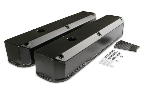 6861BG - Mr. Gasket Fabricated Aluminum Valve Covers - Black Finish Image