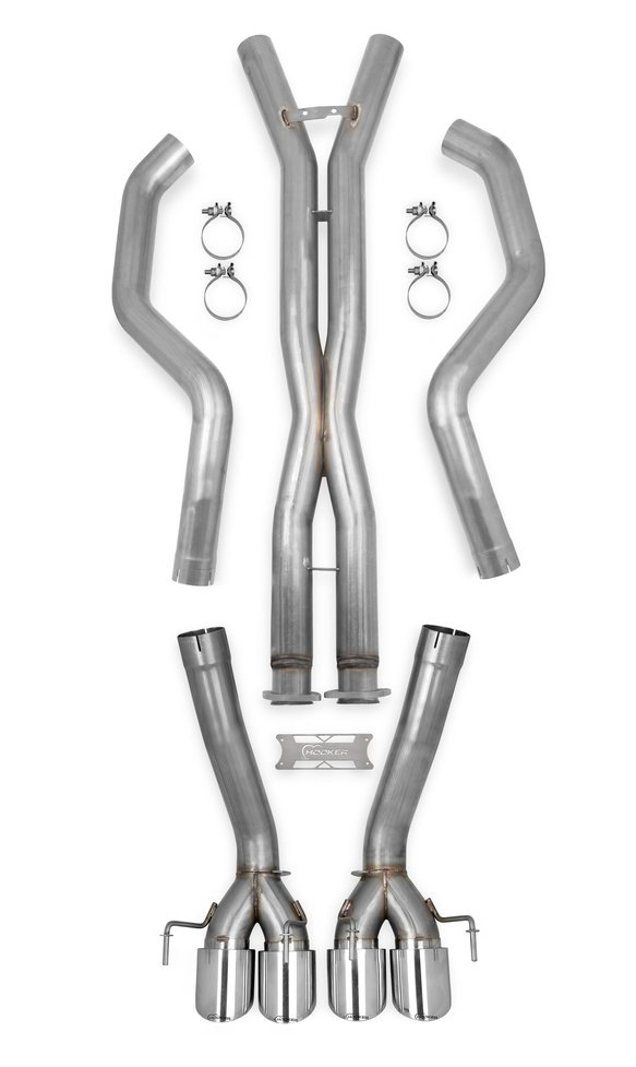 70501334-RHKR - Hooker BlackHeart Cat-back Exhaust Kit + X-Pipe (w/o Mufflers) Image