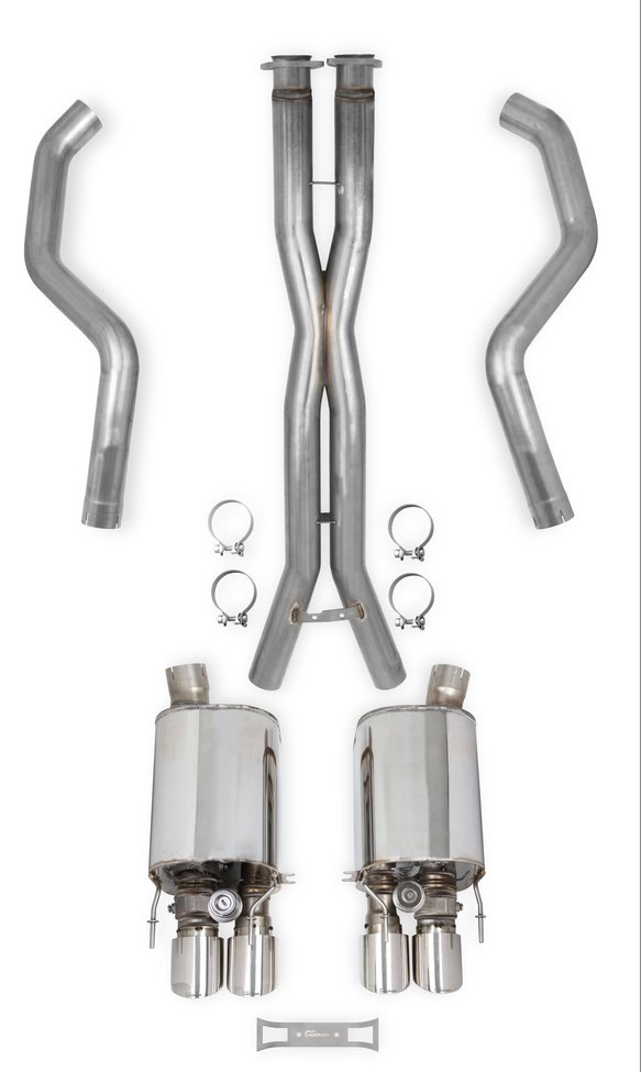 70501365-RHKR - Hooker BlackHeart Cat-back Exhaust Kit + X-Pipe w/Dual Mode Mufflers Image