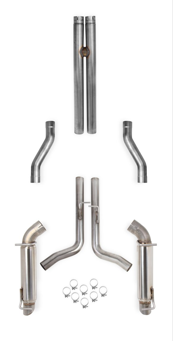 70502320-RHKR - Hooker BlackHeart Cat-Back Exhaust System w/Resonators (No Mufflers) Image