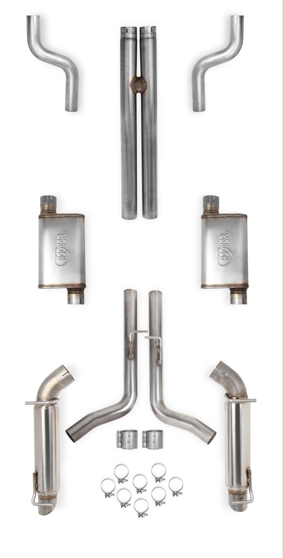 70502321-RHKR - Hooker BlackHeart Header-Back Exhaust System w/Mufflers & Resonators Image