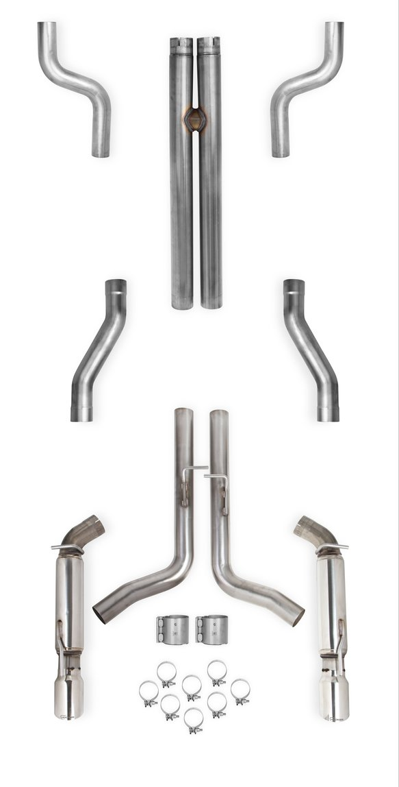 70502326-RHKR - Hooker BlackHeart Header-Back Exhaust System w/Resonators (No Mufflers) Image