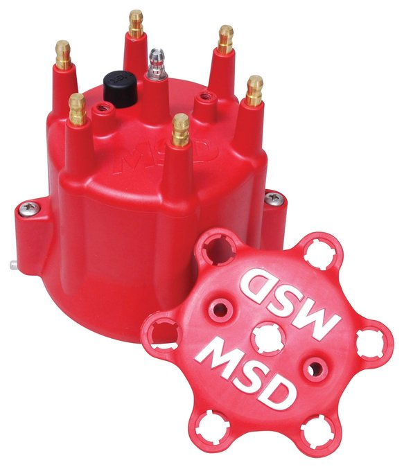 8014 - Chevy MSD 6 Cylinder HEI Distributor Cap w/Retainer Image