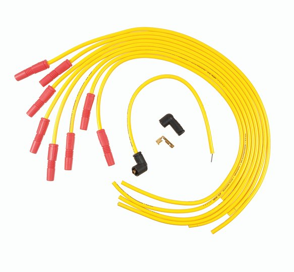 8022ACC - Spark Plug Wire Set - Spiral Core 8.8mm - Universal Fit - Straight Boots - Yellow Image