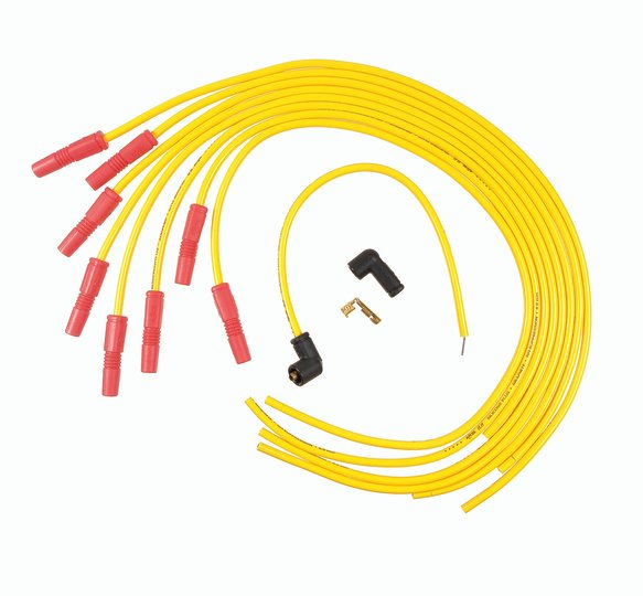 8032 - Spark Plug Wire Set - 8.8mm - Spiral Core - Universal Points Style - Straight Boots - Yellow - 8Cyl Image