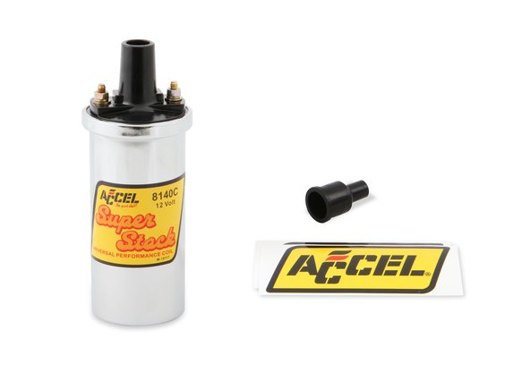 8140C - ACCEL Ignition Coil - Chrome - 42000v 1.4 ohm primary - Points - good up to 6500 RPM Image