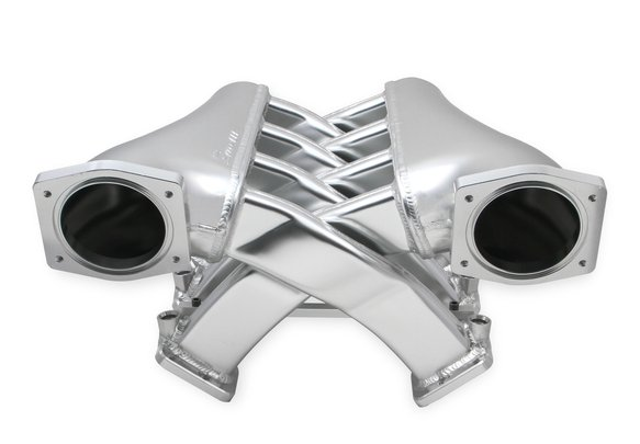 822201 - Sniper EFI Fabricated Intake Manifold Dual Plenum 92mm GM LS3/L92, TB spacers, and Fuel Rail Kit - Silver Image