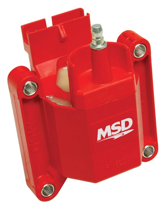 8227 - MSD Ignition Coil High Performance, Red, 1983-1997 Ford TFI style, Individual Image