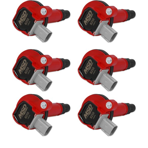 82586 - MSD Ignition Coils 2010-2013 Ford 3.5L V6 Red EcoBoost engines. Red, 6-Pack (2-Pin Connector) Image