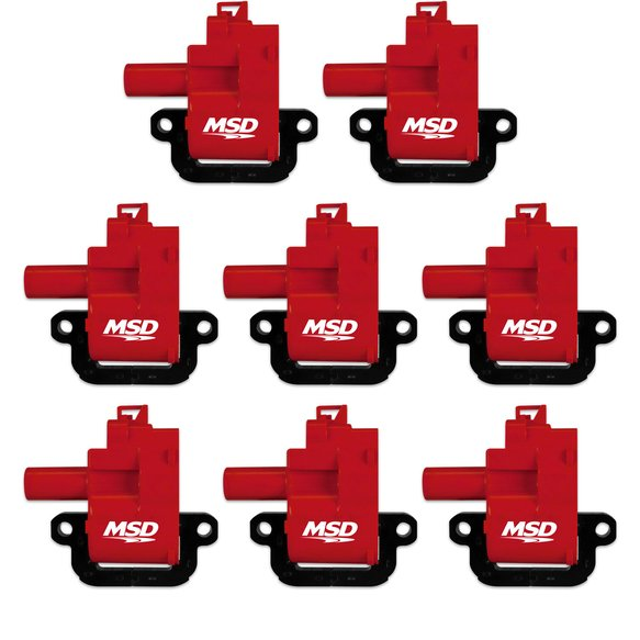 82628 - MSD Ignition Coils Blaster Series 1998-2006 GM LS1/LS6 engines, Red , 8-Pack Image