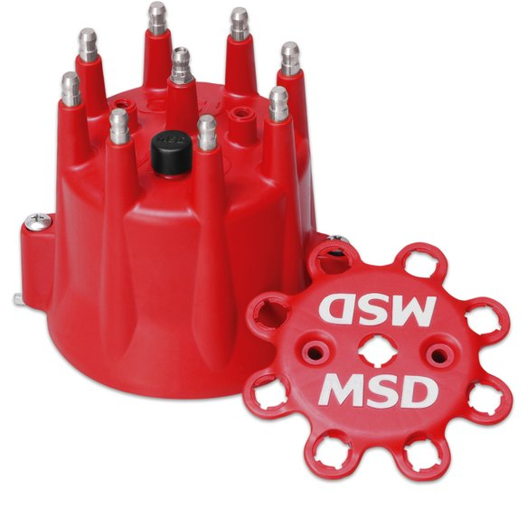 8433 - Red, V8 Distributor Cap With HEI Terminals and Spark Plug Wire Retainer Image