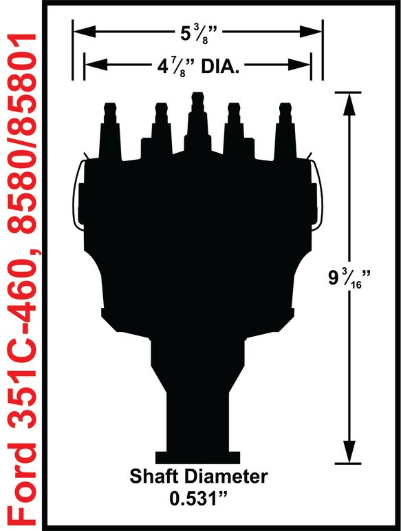 85801 - Ford V8 351C-460 Billet Distributor, STEEL GEAR - additional Image