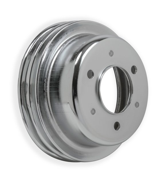 8830MRG - Crankshaft Pulley - Ford Small Block 1965-66- Chrome - Double Groove Image