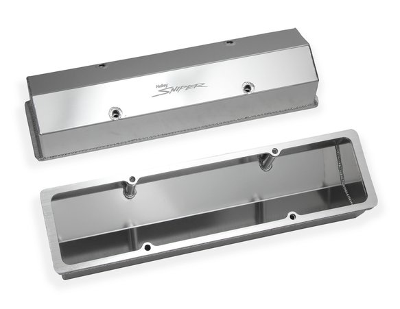 890008 - Fabricated aluminum valve covers w/baffle for 1958-86 Chevy small block 283-400 engines - natural - additional Image