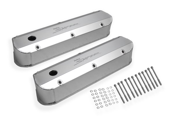 890012 - Sniper Fabricated Aluminum Valve Cover - Ford Small Block - Silver Finish Image