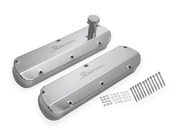 890013 - Sniper Fabricated Aluminum Valve Cover - Ford Small Block - Silver Finish Image