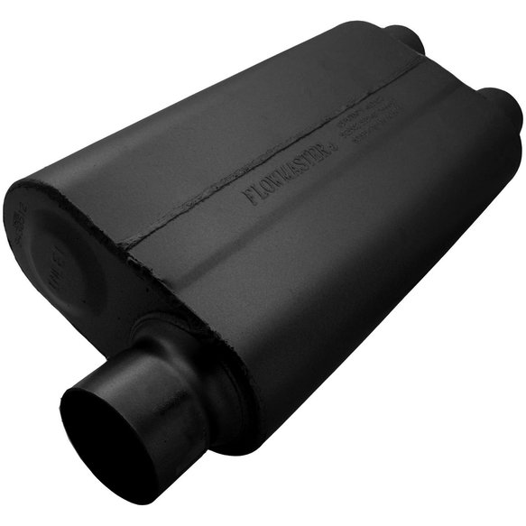 9430512 - 50 Delta Flow Muffler - 3.00 Offset In / 2.50 Dual Out - Moderate Sound Image