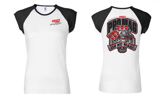 94583 - MSD Racing, Ladies' Cap Sleeve Baseball T-Shirt, Large Image