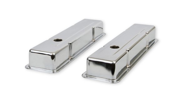 9800 - Chrome valve covers for 1958-86 Chevy small block 283-400 engines. Image