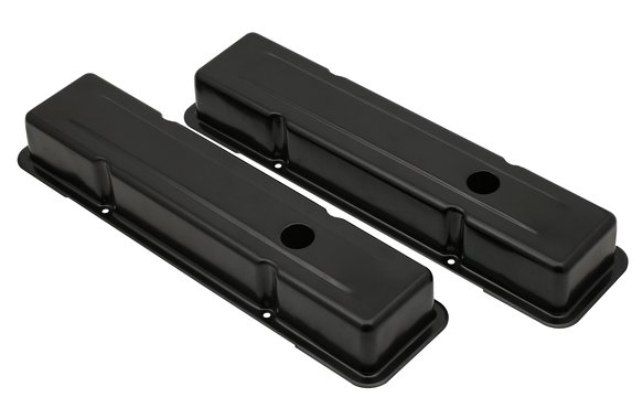 9800BP - Black steel valve covers for 1958-86 Chevy small block 283-400 engines. Image