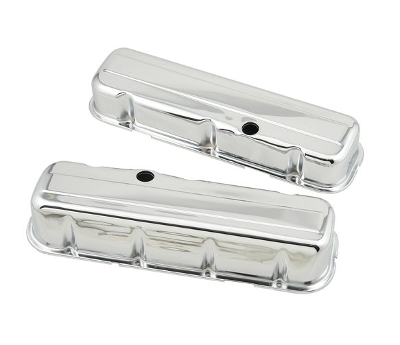 9802 - Chrome tall-style valve covers w/o baffle for 1965-2000 396-454 Chevy big block engines. Image