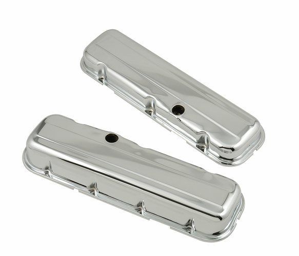 9803 - Chrome short-style valve covers w/baffles for 1965-2000 396-454 Chevy big block engines. Image