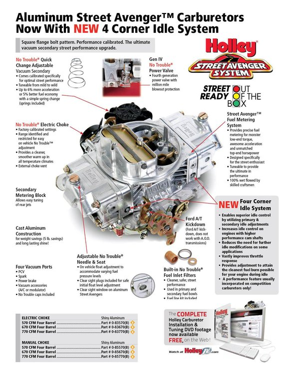 FR-83570 - 570 CFM Street Avenger - Aluminum Carburetor-Factory Refurbished - additional Image