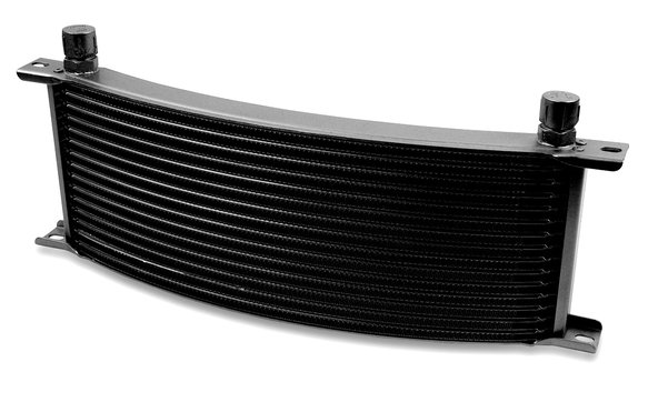 71606AERL - Earls Temp-A-Cure Oil Cooler - Black - 16 Rows - Narrow Curved Cooler -6 AN Male Flare Ports Image