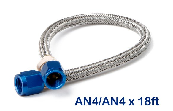 15302NOS - Stainless Steel Braided Hose -4AN 18-foot Blue Image