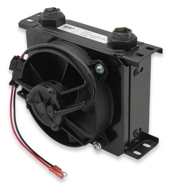FP219ERL - Earls UltraPro Oil Cooler w/ Fan Pack - Black - 19 Rows - Narrow Cooler - 10 O-Ring Boss Female Ports Image