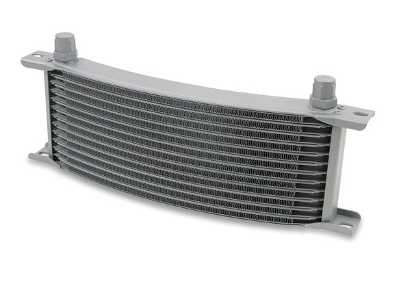 71606ERL - Earls Temp-A-Cure Oil Cooler - Grey - 16 Rows - Narrow Curved Cooler -6 AN Male Flare Ports Image
