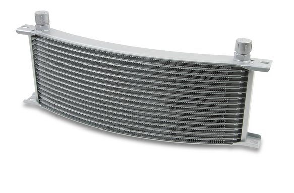 91608ERL - Earls Temp-A-Cure Oil Cooler - Grey - 16 Rows - Wide Curved Cooler  -8 AN Male Flare Ports Image