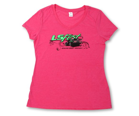 10110-XXLHOL - Ladies Hot Pink V-Neck Tee Image