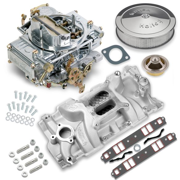 VK060011 - 600 CFM 0-1850SA Classic Holley Carburetor and Small Block Chevy Manifold Combo Image