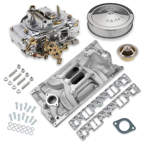 VK060033 - 600 CFM 0-80457SA Carburetor and Small Block Chevy Vortec Intake Manifold Combo Image