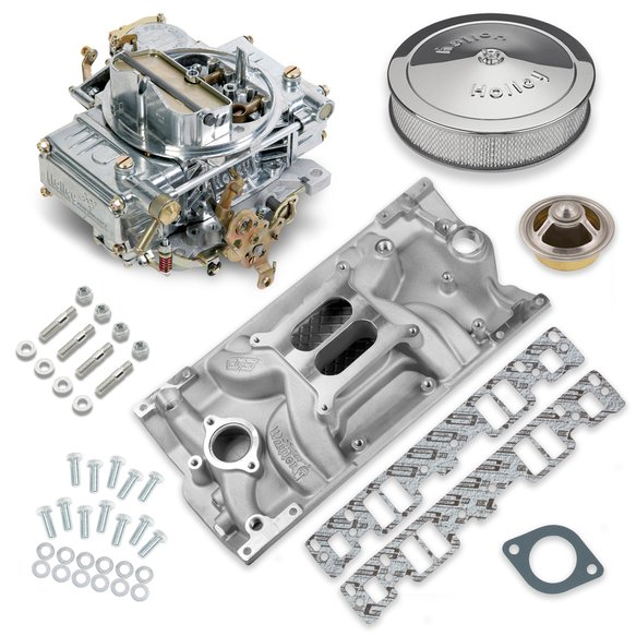 VK060035 - 600 CFM 0-1850SA Classic Holley Carburetor and Small Block Chevy Vortec Manifold Combo Image