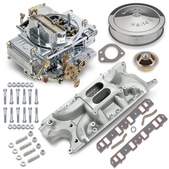 VK060003 - 600 CFM 0-1850SA Classic Holley Carburetor and Small Block Ford Manifold Combo Image