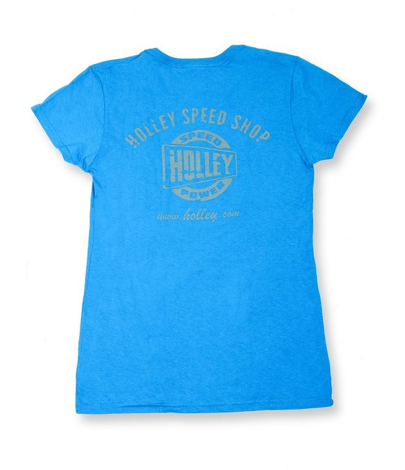 10106-MDHOL - Ladies Blue Holley Speed Shop T-Shirt Image