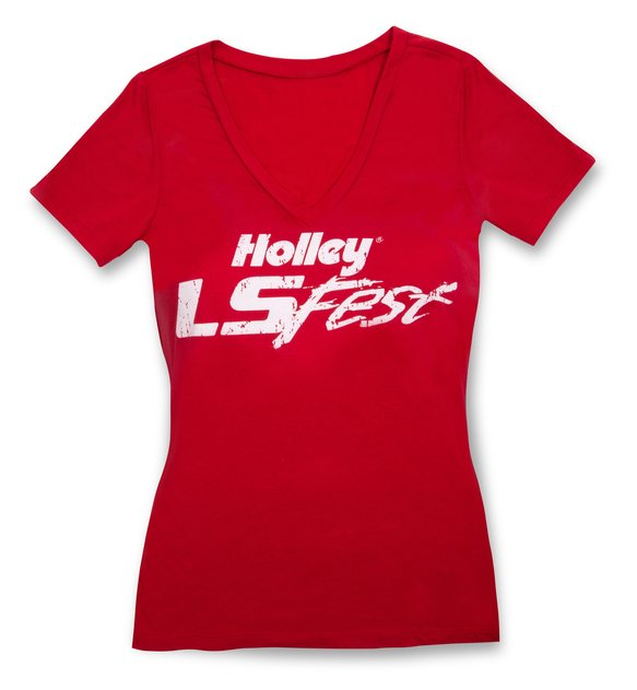 10139-SMHOL - Ladies Red Holley LS Fest V-Neck Image