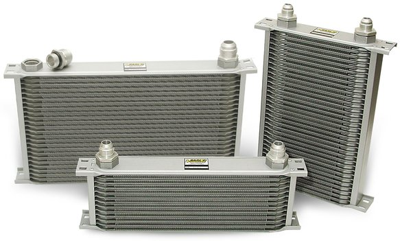 41616ERL - Earls Temp-A-Cure Oil Cooler - Grey - 16 Rows - Wide Cooler -16 AN Male Flare Ports Image