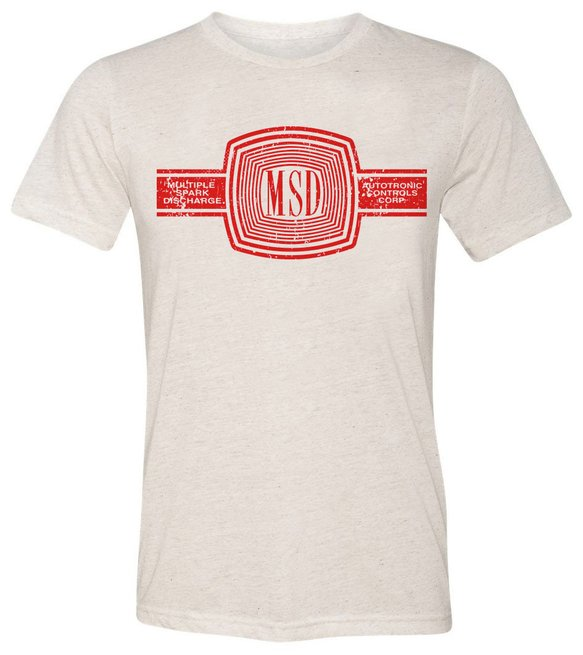 10167-3XMSD - MSD Cream Tee with Red Logo Image