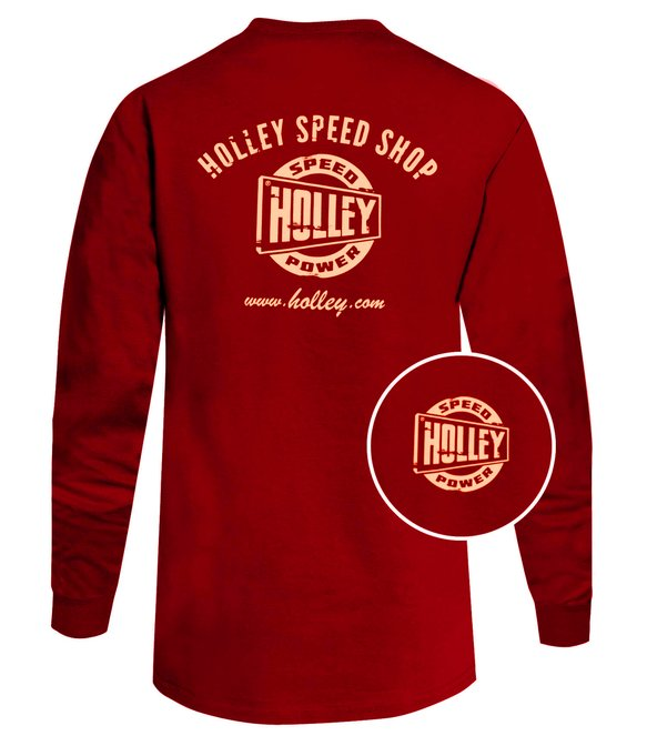 10046-LGHOL - Red Holley Speed Shop Long Sleeve Tee Image