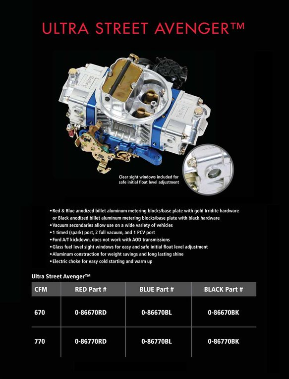 0-86570HB - 570 CFM Ultra Street Avenger Carburetor - additional Image