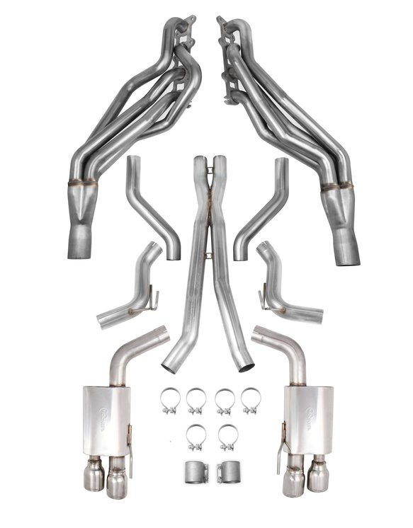 VK050004 - Hooker BlackHeart Long Tube Headers + HEADER-BACK EXHAUST KIT WITH X-PIPE AND MUFFLERS Image