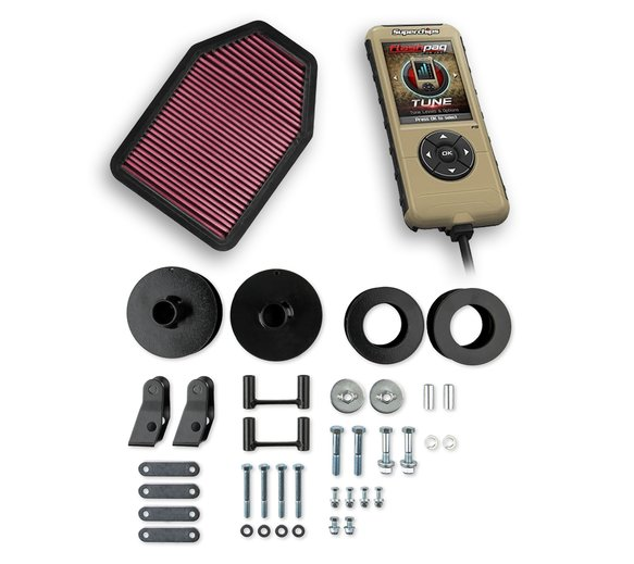 VK110003 - Holley Stage 2 Performance Kit - Superchips F5 Flashpaq/Flowmaster Air Filter/Anvil Lift Kit Image