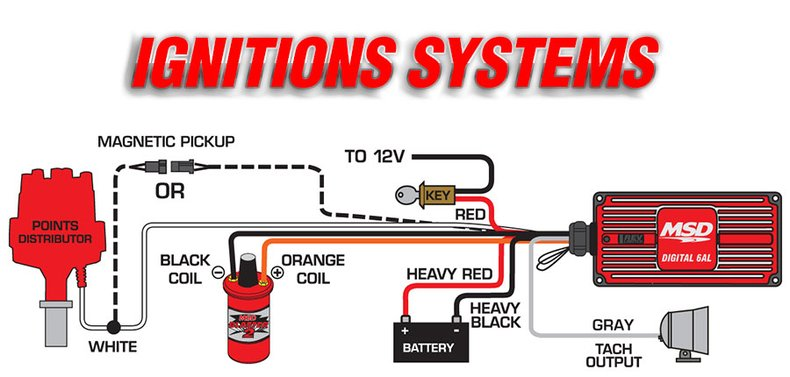 msd ignitions install easily to a variety of applications  this diagram  shows the wiring with a points distributor